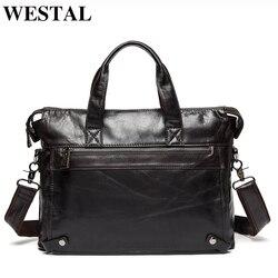 WESTAL homme porte-documents sac de bureau pour homme sacs homme véritable mallette en cuir pour homme pochette d'ordinateur en cuir avocat/sacs de messager 910