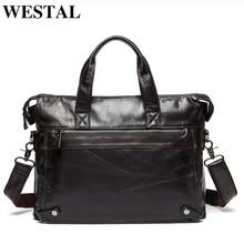 WESTAL الرجال حقائب حقيبة مكتب للرجال الرجال حقائب حقيقية حقيبة جلدية الرجال حقيبة لابتوب جلد المحامي/حقيبة ساع 910
