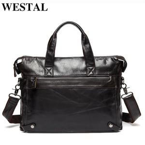 Image 1 - Westal 남자 서류 가방 남자 가방 정품 가죽 서류 가방 남자 노트북 가방 가죽 변호사/메신저 가방 910