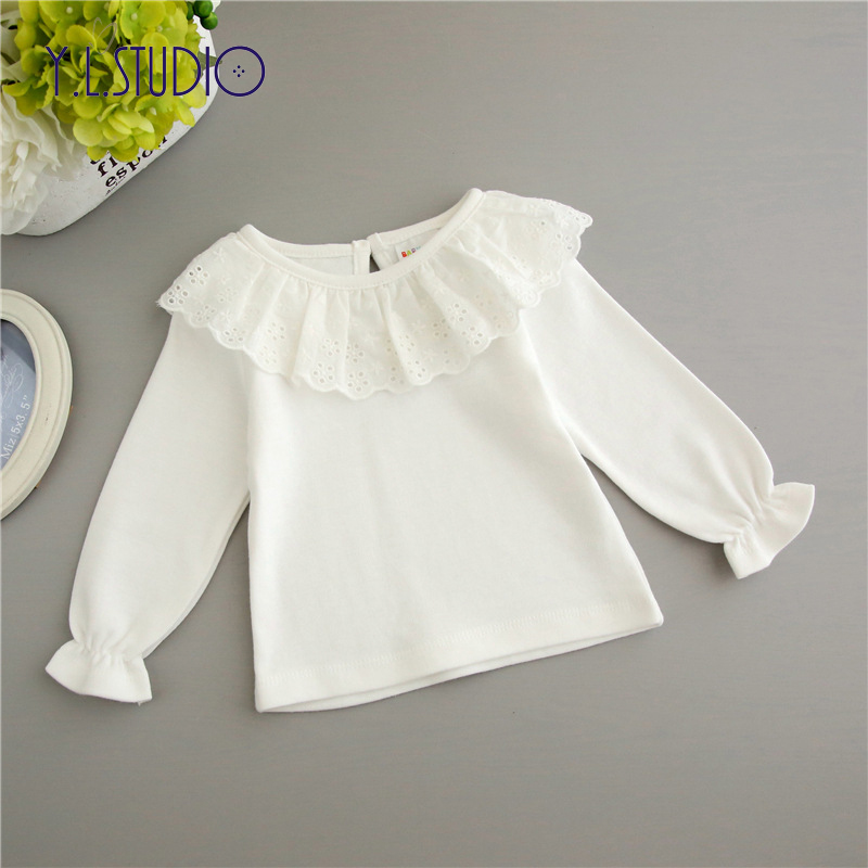 Baby Girl Tops T-shirt Long Sleeve Newborn Autumn White Floral Lace Pullover Hollow Front Cute for New Born Girls Ruffle Shirts plus trumpet sleeve tie front floral bardot top