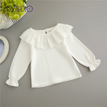 Baby Girl Tops T-shirt Long Sleeve Newborn Autumn White Floral Lace Pullover Hollow Front Cute for New Born Girls Ruffle Shirts цены