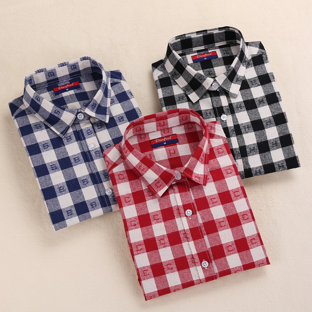 Dioufond Clearance Women Shirts Long Sleeve Plaid Blaid Turn Down - Pakaian wanita - Foto 4
