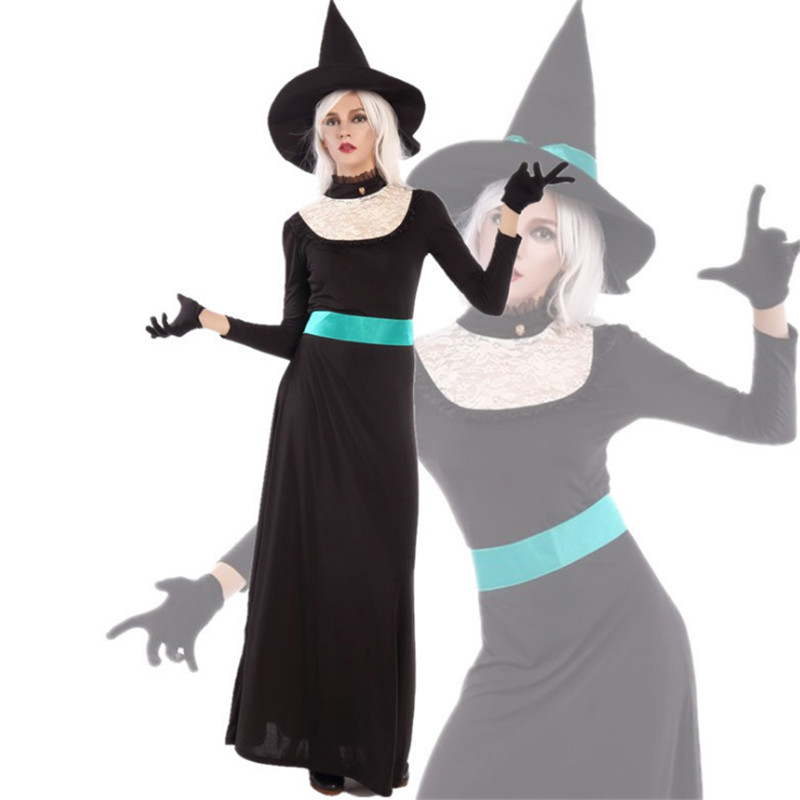 M-XL evil Long sleeve black Witch costume Halloween for Women adult Witch cosplay clothing black queen Masquerade Party dress