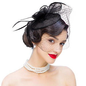Image 2 - New Collection Fascinators Hats Sinamay Feather Netting Hats for Womens Kentucky Derby Wedding Event Cocktail Headband 1pcs