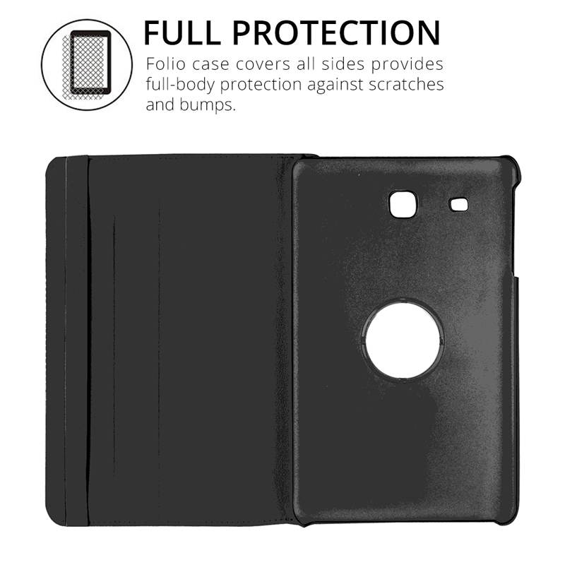 new products 700d9 b347b 360 Rotating Smart Cover PU Leather Case For Samsung Galaxy Tab E 9.6 T560  T561 SM-T560 Folding Folio Stand Tablet Case+Film+Pen