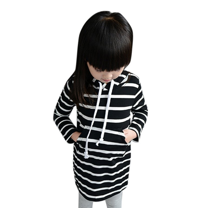 229ec4d06922 Enfant Bébé Fille Rayé Robe À Manches Longues À Capuche Princesse Robes  Enfants Vêtements LL4