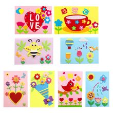 Children Kids DIY Greeting Card Envelope Handmade Crafts Mothers Day Birthday Blessing Gift