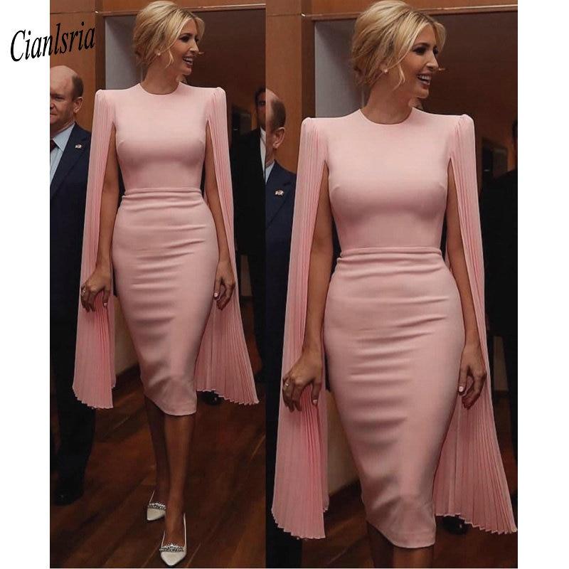 Pink Elegant Tea Length Evening Dress With Chiffon Draped O-Neck Simple Custom Made Short Formal Evening Party Dresses