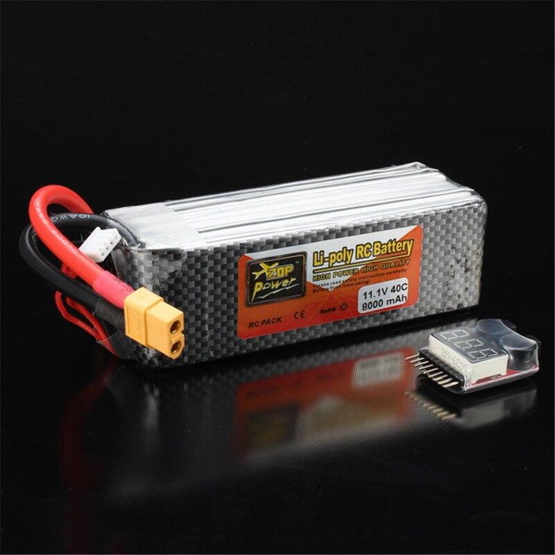 Bateria recarregável Lipo ZOP Poder 11.1 V 8000 mAh 3 S 40C Bateria Lipo XT60 Plug Com Alarme de Bateria