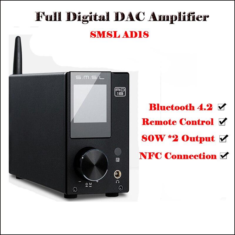 SMSL AD18 Numérique Audio Amplificateur Bluetooth 4.2 USB DAC Amplificateur Audio DAC Hifi Amplificateur de Puissance 2.1 Stéréo Professionnel 80 w amp
