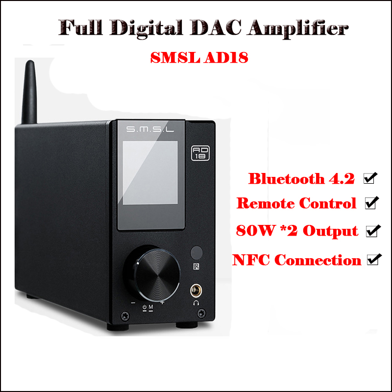 SMSL AD18 Digital Audio Amplifier Bluetooth 4.2 USB DAC Amplifier Audio DAC Hifi Power Amplifier 2.1 Stereo Professional 80W Amp
