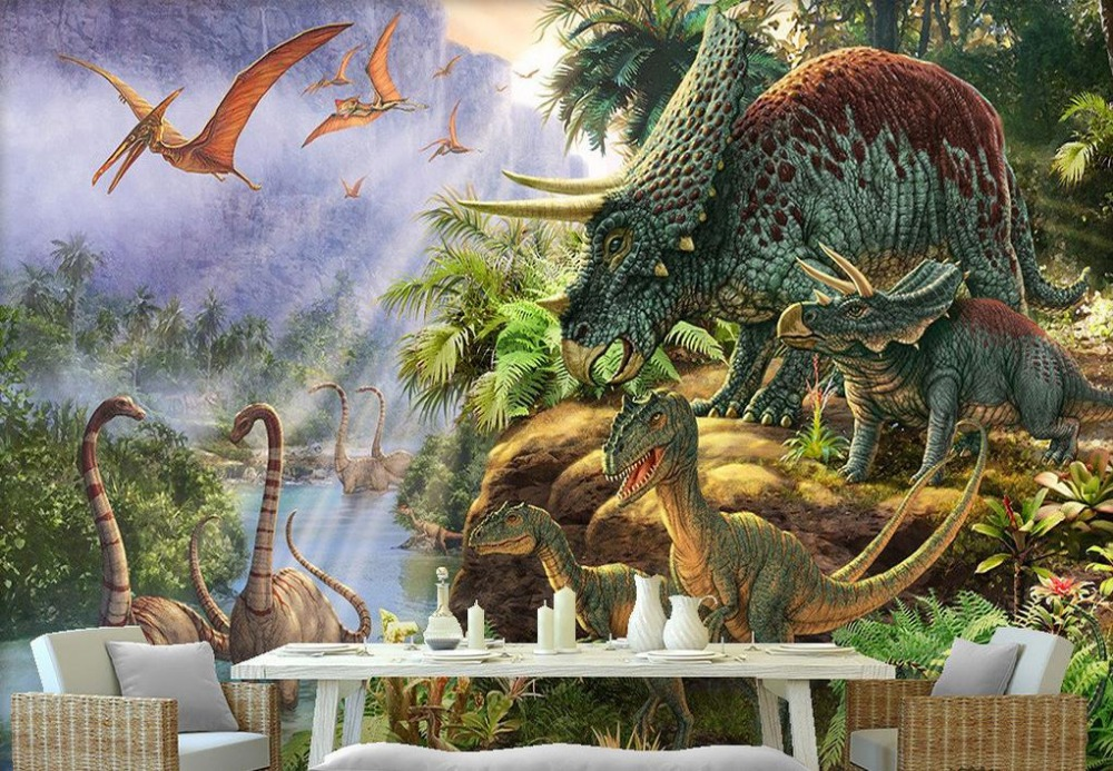 Online get cheap dinosaurs wall mural for Cheap mural wallpaper