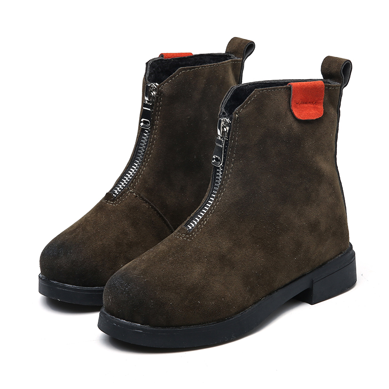 Winter Children Leather Boots Girls In The Tube Casual Cotton Boots Wild Snow Boots British Style Plus Cotton Boys Leather Shoes