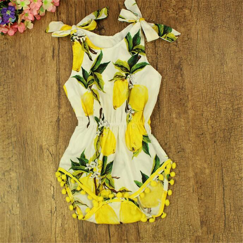 776b25d225a9 New Lemon Pattern Baby Clothes Pom Baby Girls Romper Lemon Toddler girls  Summer Kids Clothes 3T Toddler Playsuit-in Bodysuits from Mother   Kids on  ...
