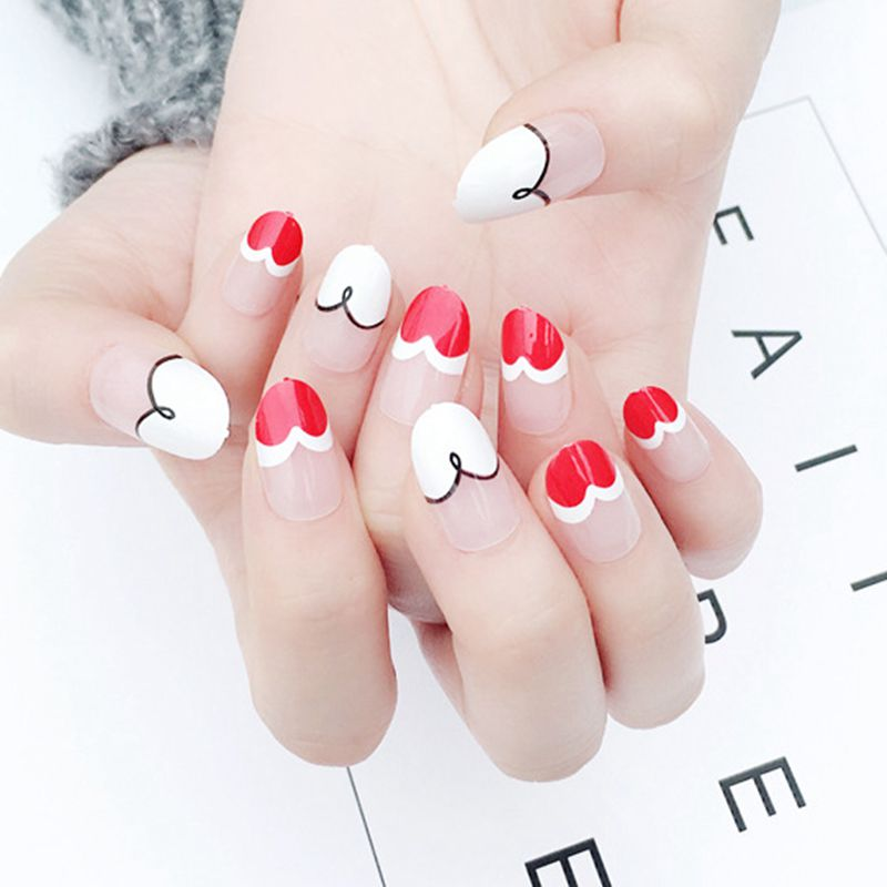 Rose Nail Art Acrylic Nails: Round French Nails Clear Pink Acrylic Nail Tip White Red