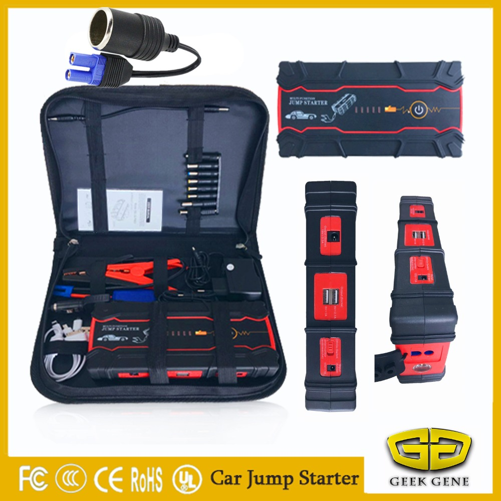 High-capacity Best Quality Battery Charger Portable Car Jump Starter Booster Power Bank For 12V auto emergency battery  2017 high capacity 15000mah car jump starter portable 12v car battery booster charger mobile 2usb power bank sos light free ship