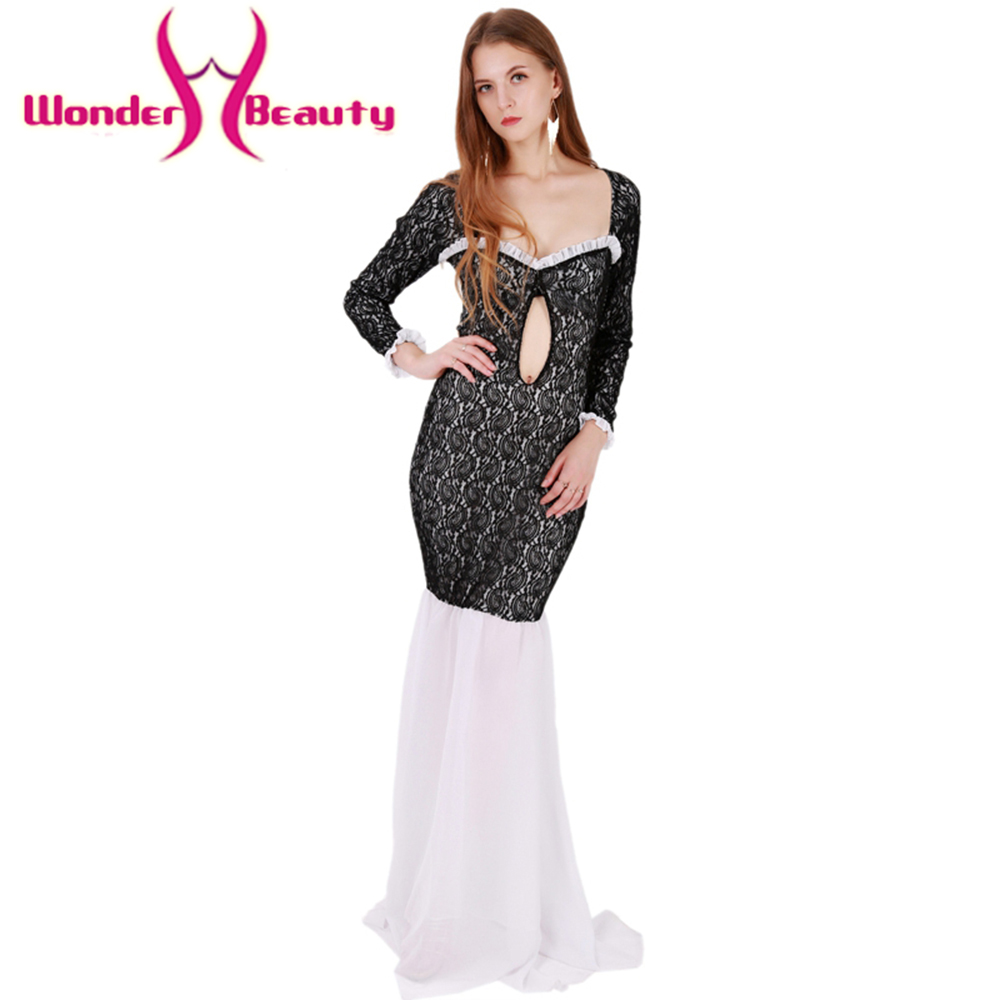 664ee2c3d1bf Wonder beauty Fashion Black lace white chiffon patchwork long sleeves sexy  casual office work long Dress Women party club dress