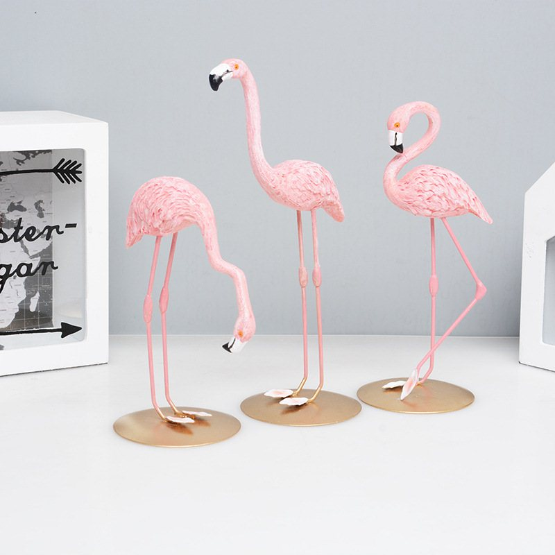 High Quality Resin Pink Flamingo Decor For Home Decoration Accessories Sculpture Figurine Gifts Wedding Supplies Home Decor (6)