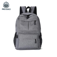 INHO CHANCY Outdoor Travel Backpack High-Quality Denim Fabric USB Rechargeable Back Pack Large-Capacity Schoolbag Mens Ladies