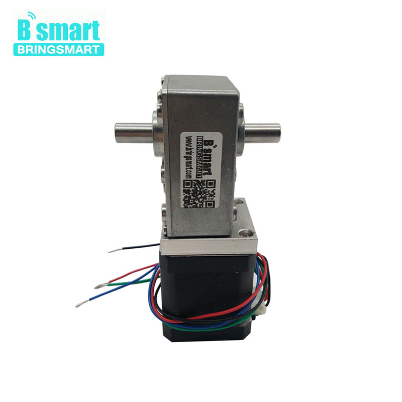 цена на A58SW-42BYS 12Volt DC Stepping Geared Motor Dual Output Shaft 24V 4-wire Worm Stepper Reduction Motor High Torque Self-locking
