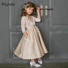 Vestidos de satén para niños pequeños, vestidos de primera comunión, vestido de baile para espectáculo, vestidos de flores para niñas, bodas, banquetes, Vestido de espalda