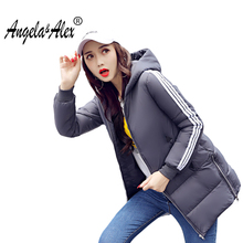 2017 Women Winter Stripe Jacket Warm Overcoat  Hooded Parka Jaqueta Feminina Slim Long Cotton-padded Parkas