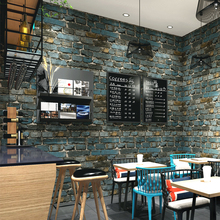 Chinese Brick Wall Papers Home Decor Vintage Blue Red Wallpaper Roll for Restuarant Barber Shop papel mural carta da parati