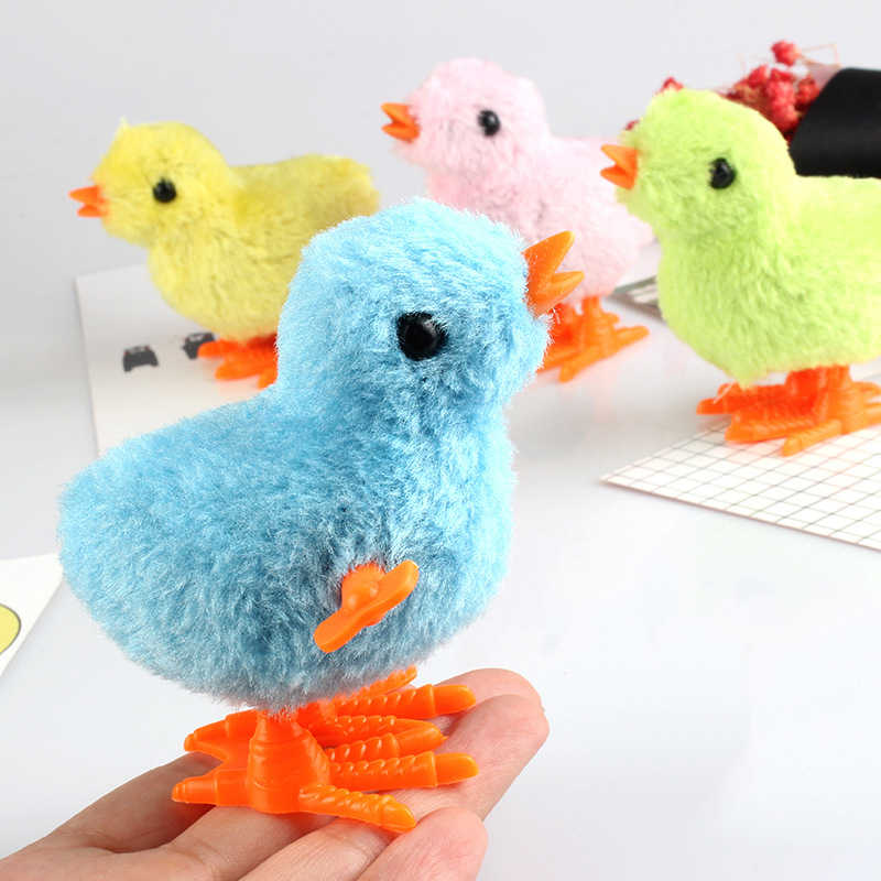 Cute Plush Wind Up Chicken Clockwork Jumping Walking Chicks Toys For Children Baby Gifts  Kids Educational Toy Random Color