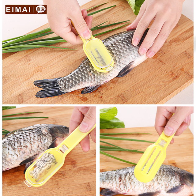 EIMAI Creative Kitchen Supplies Practical Seafood Tools Fish Peeler Eco  Friendly PVC Fish Scales Cutter