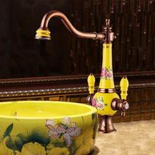 Бесплатная доставка латунь torneira Cozinha с фарфоровой Кухня кран/одной ручкой розовое золото отделка бассейна Раковина кран смесители краны