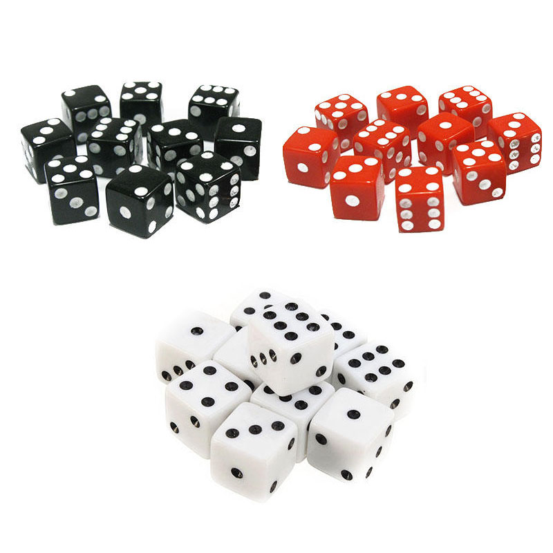 10pcs 6-sided Dices Standard Six Sided Acrylic Gaming Dices 16mm For Craps Party Outdoor Bar Games Tools Red/Black/White