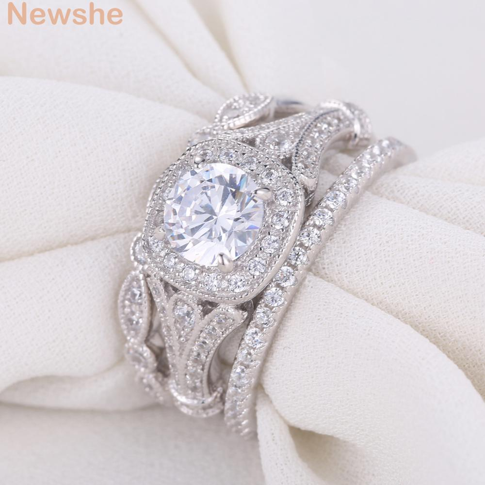 Wedding Ring Sets Sterling Silver: Newshe 2 Ct Round Cut AAA CZ Solid 925 Sterling Silver