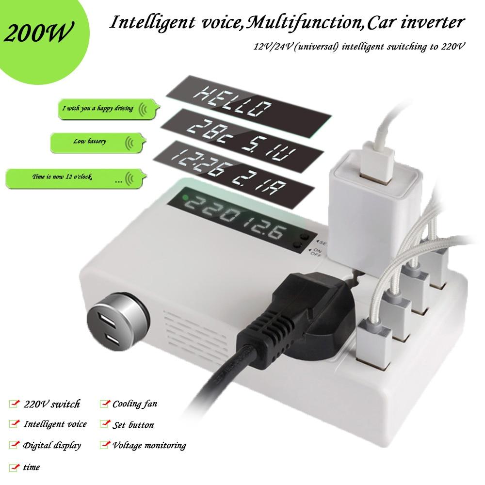 AOSHIKE konwerter napięcia przetwornica napięcia 12V 24V do 220V transformator 4 cyfrowy wyświetlacz USB inteligentny głos wielofunkcyjny