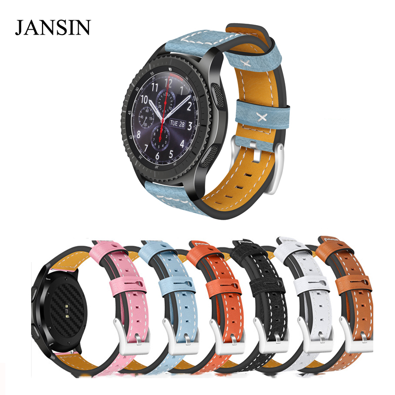 JANSIN 22mm Genuine cow Leather Strap For Samsung Gear S3 Frontier/S3 Classic/ASUS /Moto360/LG G watchband Smart Watch bracelet вытяжка со стеклом kuppersberg f w 610 b
