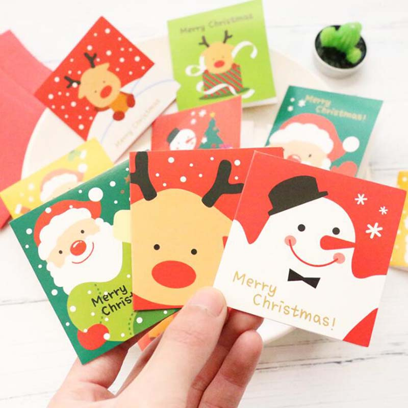 Christmas Cards without Letter Envelope Cute Cartoon Elk Small Santa Claus Merry Christmas Postcard Greeting Card Gift Cards