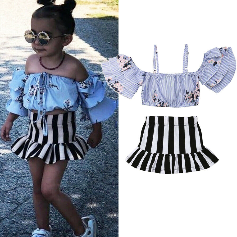 Casual Flower Child Kids Baby Girl Off Shoulder Crop Top Skirt Outfit Clothes US