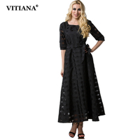 VITIANA 2017 Women Summer Elegant Casual Dress Black Grid Short Sleeve Maxi Long Party Dresses Plus