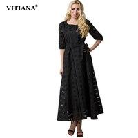 VITIANA 2017 Women Summer Elegant Casual Dress Black Grid Short Sleeve Maxi Long Party Dresses Plus