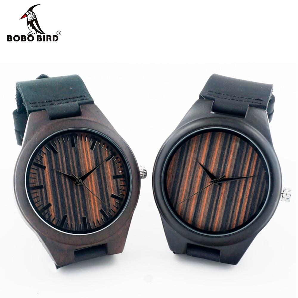 ФОТО BOBO BIRD L16 Black Ebony Wood Watches Relogio Mens Luxulry Brand Designer Leather Band Quartz Watch Men Wooden Wristwatches OEM