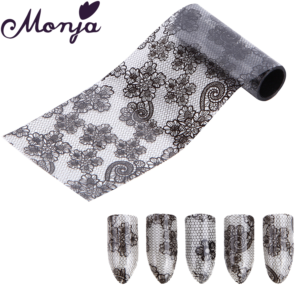 1 Roll Black Nail Art Magic Totem Flower Lace Image Starry Sky Foil Sticker Glue Transfer Fashion Decals Wraps 3D DIY Decoration hot sale 20 sheets lot 20 4cm nail art transfer foil floral serial sexy black lace pattern nail sticker foil material diy wy188