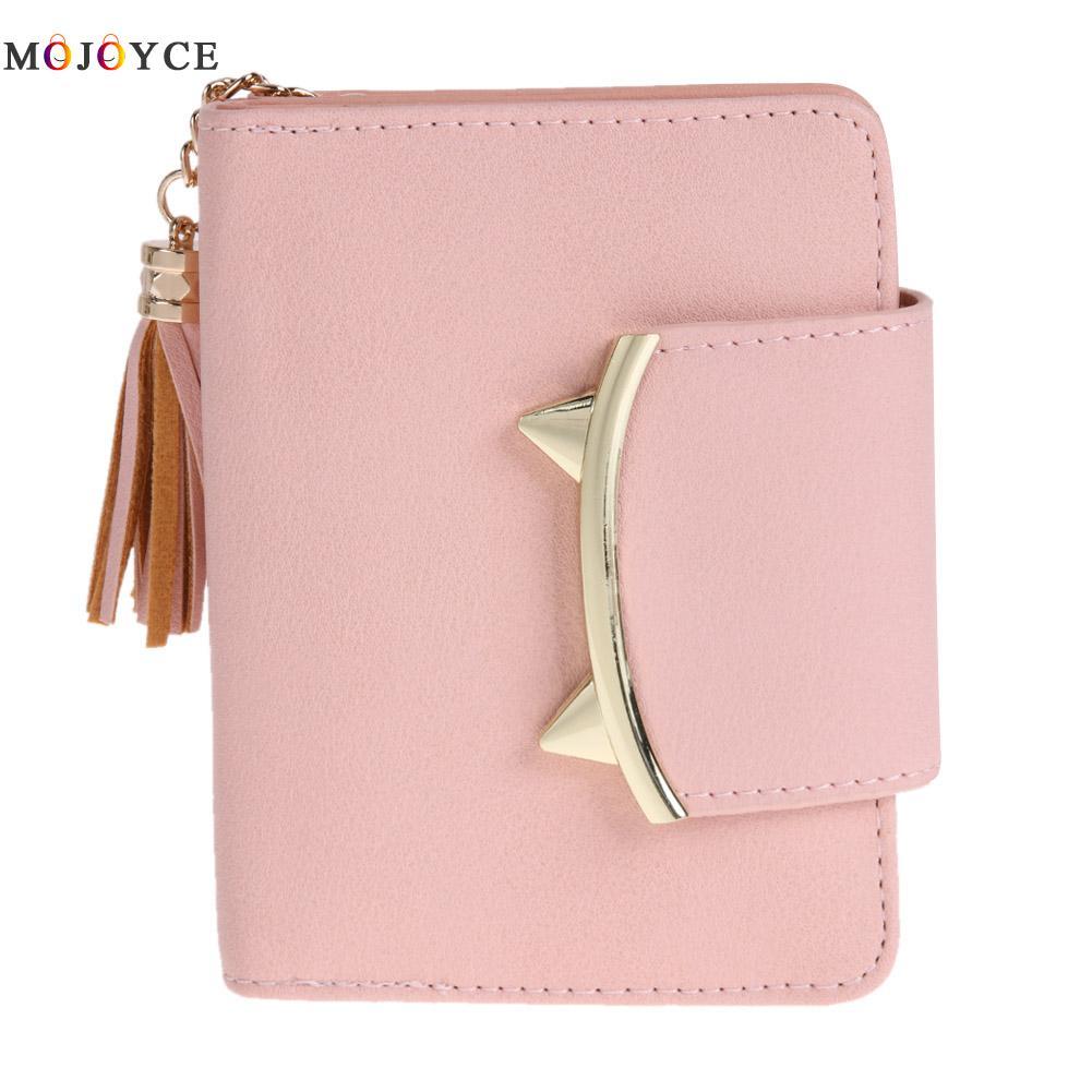 2018 Cute Cat Anime Leather Trifold Slim Mini Wallet Women Small Clutch Female Purse Coin Card Holder Dollar Bag