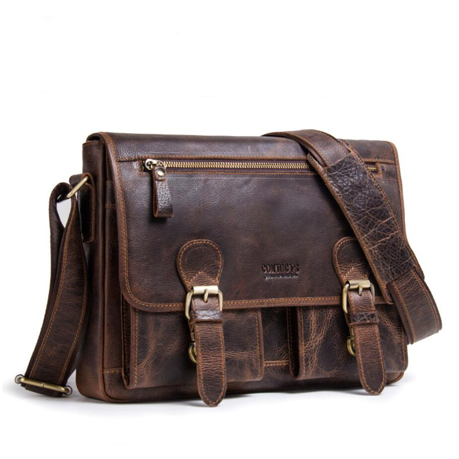 Genuine Crazy Horse Cowhide Leather Men Shoulder Bag Brand Vintage Crossbody Bags Business Casual Messenger Bag Laptop Briefcase