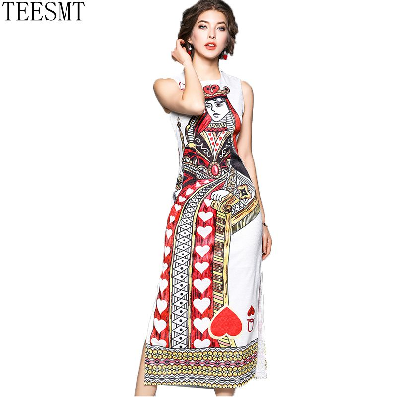 Runway Designer 2018 Summer Long Dress Womens High Quality Sleeveless Heart Shaped Playing Cards Printed Dresses