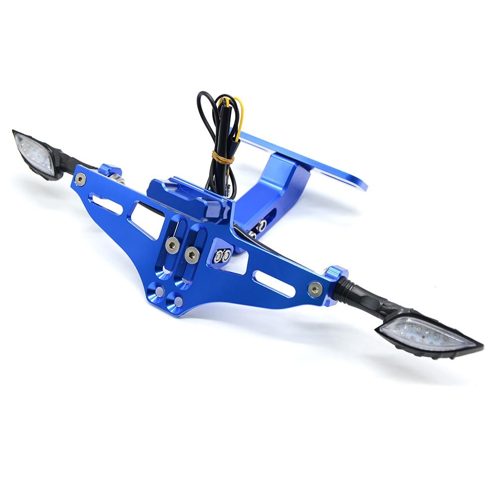 Мотоцикл Номерных Знаков держатель номер светодиодный поворотник для honda vfr 800 mt 03 xt 600 f800r yamaha r15 mt 125 fz6n - Цвет: Синий