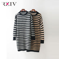 RZIV 2017 Autumn Casual Striped Sweater Female Long Sweater