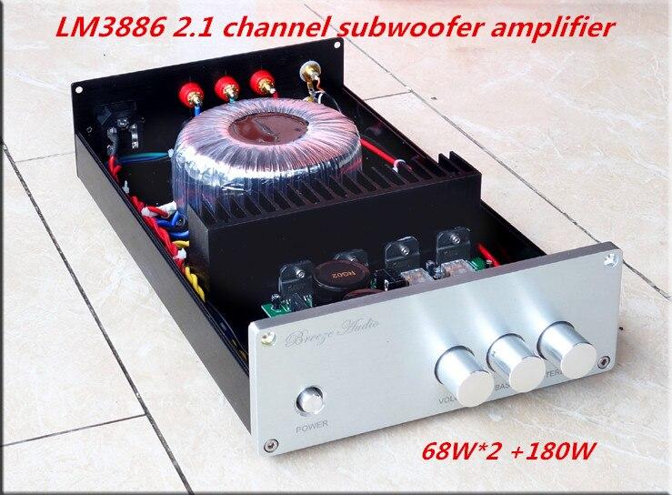 HiFi LM3886 2.1 channel 68W *2+180W*1 Subwoofer Power Amplifier Bluetooth amplifier 4.2 rockford punch 1 channel amplifier
