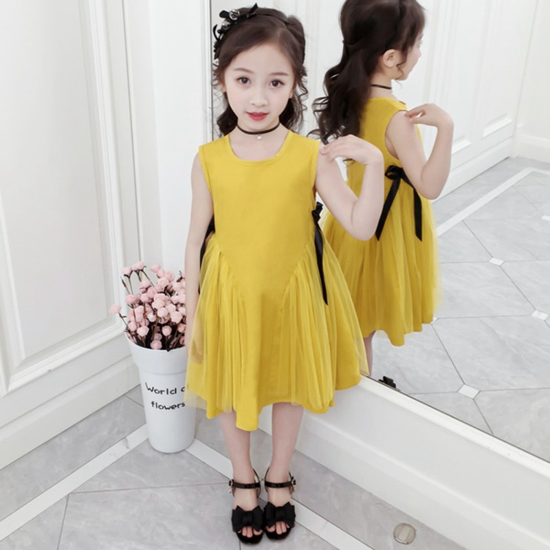 CROAL CHERIE Yellow Party Princess Dress Girl Summer Kids Dresses for Girl Costume Fashion Children Girls Clothing Bow Dress  (2)