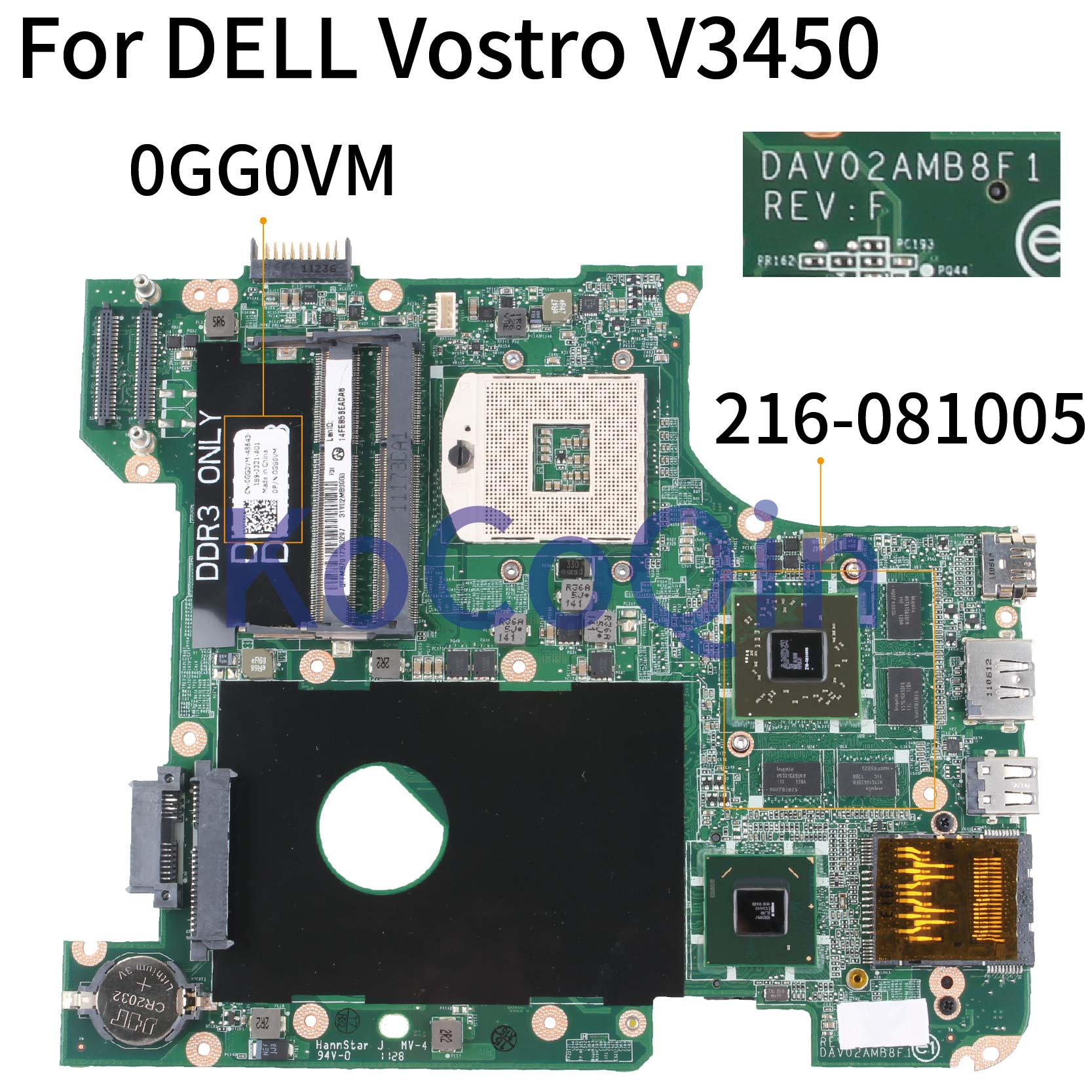 KoCoQin Laptop Motherboard For DELL Vostro 3450 V3450 HD6650M Mainboard CN-0GG0VM 0GG0VM DAV02AMB8F0 216-0810005 HM67