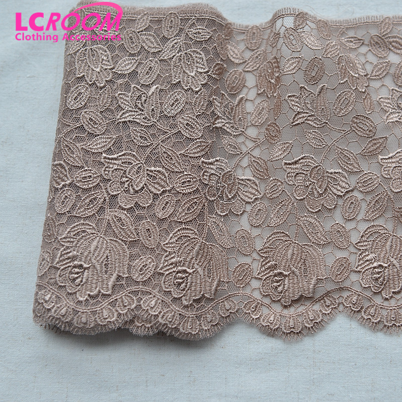3 Meters/Lot High quality tea color mesh embroidery lace fabric 18cm wide Brown lace trim DIY curtain garment accessories