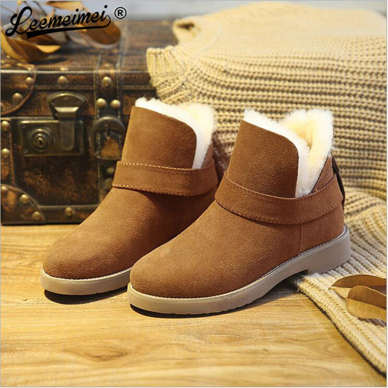 Big Size Woman Snow Boots Winter Flats Slip-on Casual Boots For Women Students Flats Mid-Calf Botas Female Shoes big size new fashion women boots slip on mid calf flats shoes round toe winter snow boots solid plush soft leather shoes woman
